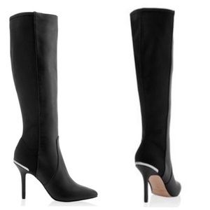 WHBM BOOTS CORALIE SOFT LEATHER AND STRETCHY FABRI